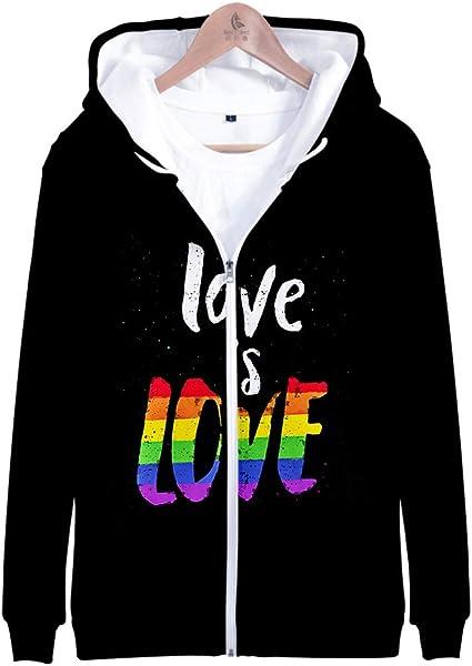 Unisex Mens Womens Sports Rainbow LGBT Pride Gay Hooded Striped Sweatshirts Coat