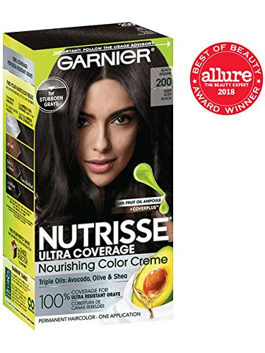 Garnier Nutrisse Ultra Coverage Hair Color, Deep Soft Black Hair Dye (Black Sesame) 200
