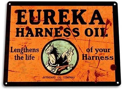 TIN Sign Eureka Harne Oil Tin Metal Sign Gas Station Garage Oil Decor