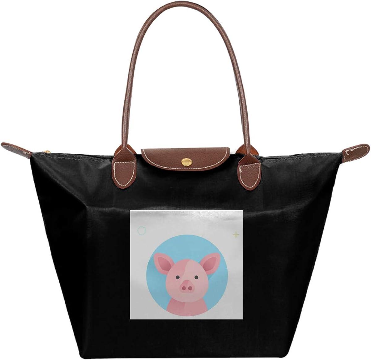 Lovely Pink Pig Watercolor PU Folding Dumpling Bag Tote Bag Large Women Casual Shoulder Bag Handbag