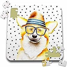 Uta Naumann Watercolor Illustration Animal - Cute Funny Dog Illustration on Polkadots- Welsh Corgi Pembroke - 10x10 Inch Puzzle (pzl_275102_2)