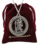 Men's Large Saint Christopher Round Cut Out Medal and Necklace Solid 925 Sterling Silver - 24 Inch 925 Sterling Silver Chain - 32.50 Mm (1.27 Inch)
