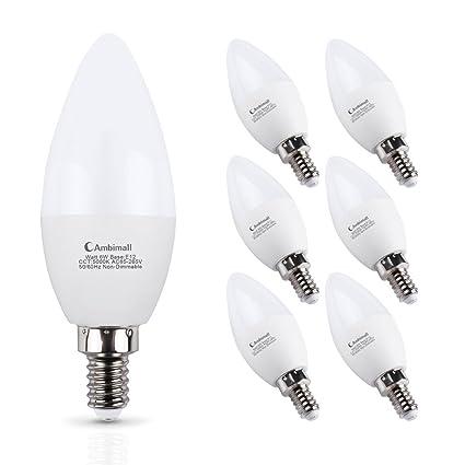E12 LED Bulb 60Watts, Ambimall 6 Watt Led Candelabra Bulbs Daylight ...