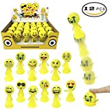 Liberty Imports Jumping Emoji Popper Spring Launchers Toy Bouncy Ball Party Favors Supplies (24 Pieces)