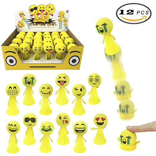 Liberty Imports Jumping Emoji Popper Spring Launchers Toy Bouncy Ball Party Favors Supplies (24 Pieces) (24 Piece Balls)