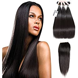 "Puddinghair Straight Brazilian3 Bundles with Closure Unprocessed 100% Virgin Hair Bundles Natural Black Brazilian Human Hair Hundles(16"" 18"" 20""+14"" Free Part Closure"