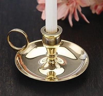 """Biedermann & Sons Brass Chamberstick Candle Holder, 2"""""""