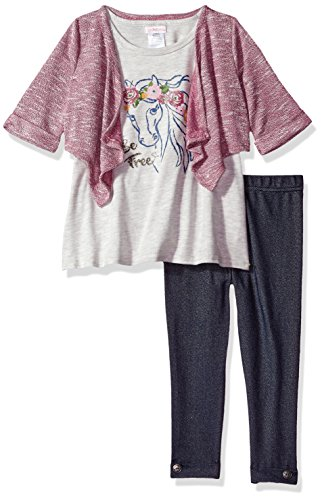 Youngland Girls' Little Tunic, Legging and Cozy 3-Piece Outfit, Horse/Multi, 2T