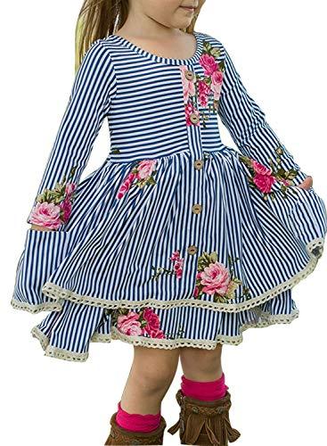 Knit Dress Ruffle (Blibea Girls Kids Blue Cute Sweet Floral Long Sleeve Double Layer Cheeky Plum Knit Ruffle Midi Party Dresses Size 10 11)