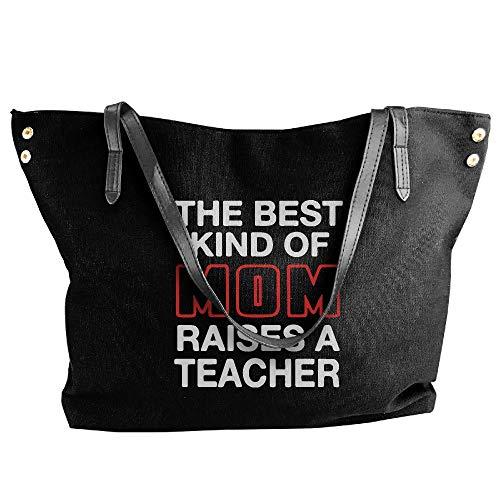 Hand Bag Large Canvas Best Teacher Mom Of Kind Shoulder A Handbag Black Raises Women's Tote O7qxwfwa