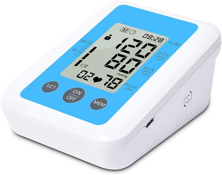 YHML Esfigmomanómetro de Brazo Superior Inglés Voz Inteligente Presión Arterial electrónica Monitor de Ritmo cardíaco Pantalla LCD Grande de 1.7