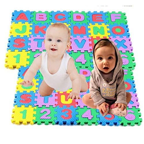Rampum 36pcs/Set Kids Foam Alphabet Number Puzzle Mini Kids Crawling Foam Mat Baby Educational Toys Foam Crawling Playmats, Safe, Non-Toxic, Funny