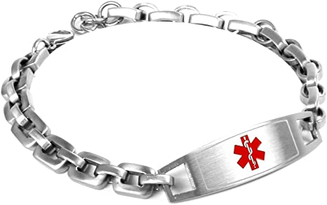 Extra Small My Identity Doctor Custom Medical Bracelet with Free Engraving 316L Steel Red
