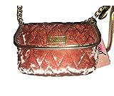 Betsey Johnson Mini Crossbody Velvet Quilted Shoulder Bag Mauve