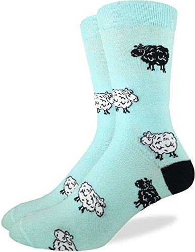 Good Luck Sock Mens Sheep Crew Socks - Green, Adult Shoe Size 7-12