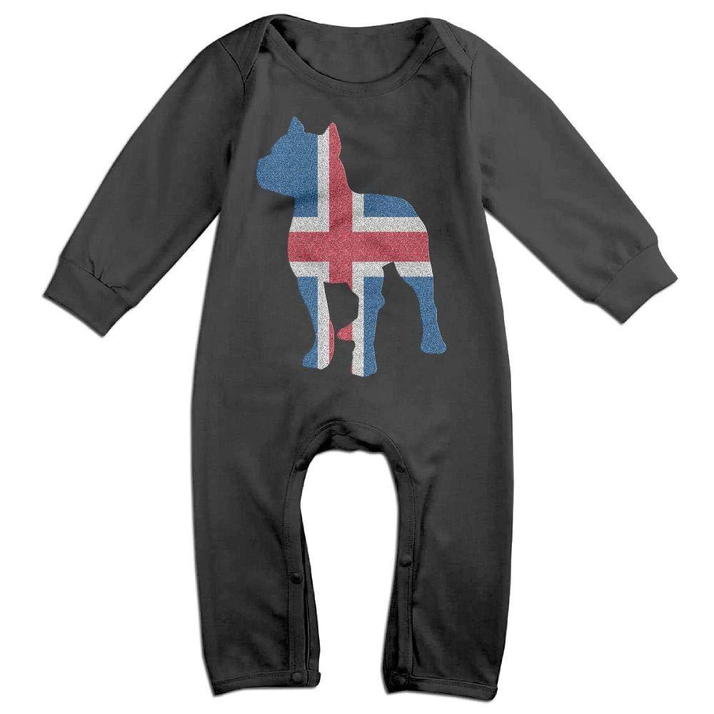 Mri-le1 Newborn Baby Long Sleeve Jumpsuit Patriotic Pitbull Iceland Flag Baby Rompers