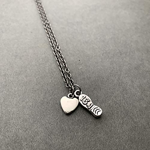 13.1 Heart and Sole Necklace on 18 inch Gunmetal Chain - Pewter 13.1 Shoe Print Charm and Pewter Puffed Heart