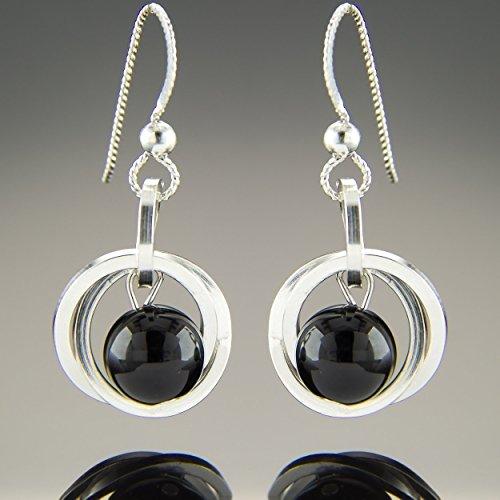 Dainty Argentium Sterling Silver Black Onyx Gemstone Dangle Earrings