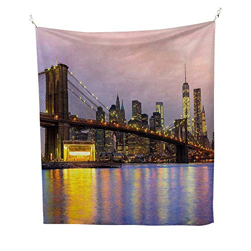 (Modernfunny tapestrySunrise Time at Manhattan Silhouette with Dramatic New York Scene USA 60W x 80L inch Quote tapestryBaby Pink Lilac Yellow)