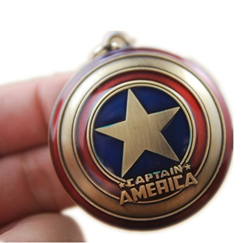 Super Hero the Avengers Captain America Shield Metal Keychain Pendant Key Chains (Bronze) (Cardboard Captain America Shield)