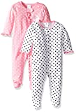 Gerber Baby Girls' 2 Pack Zip Front Sleep 'n Play, Elephants/Flowers, 0-3 Months