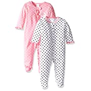 Gerber Baby Girls' 2 Pack Zip Front Sleep 'n Play,Elephants/Flowers,Newborn
