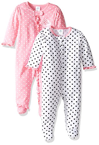 Baby Girl Footed Sleeper - Gerber Baby Girls' 2 Pack Zip Front Sleep 'n Play,Elephants/Flowers,0-3 Months