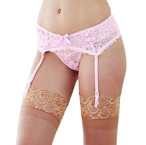 Garters Pink Womens - Dreamgirl Women's Scalloped Lace Garter Belt, Vintage Pink, OS
