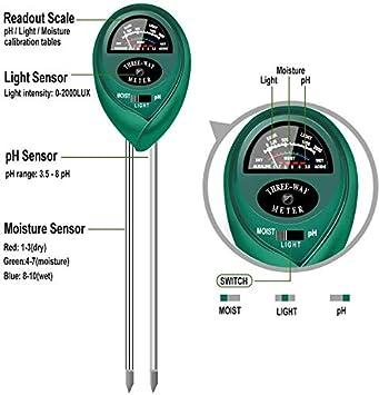 yoyomax Soil Test Kit 3-in-1 Soil Tester pH Moisture Meter Plant Water Light Tester Testing Kits for Garden Plants