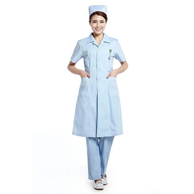 ESENHUANG Blue Lab Coat Mujeres Ropa Médica Uniformes De Enfermera Ropa Dental: Amazon.es: Ropa y accesorios