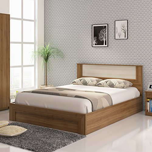 Spacewood Doric Queen Size Engineered Wood Bed with Hydraulic Storage  Particle Board   Natural Teak