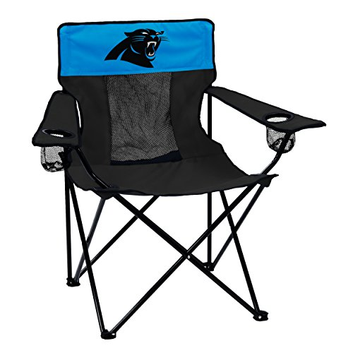 Logo Brands NFL Carolina Panthers  Folding Elite Chair with Mesh Back and Carry Bag ,  Charcoal,  One Size