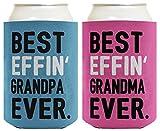 Grandma Grandpa Gifts Best Effin' Grandma and Grandpa Ever Funny Grandma Grandpa Announcement Grandma Grandpa Gift Set 2 Pack Can Coolie Drink Coolers Coolies Blue & Pink