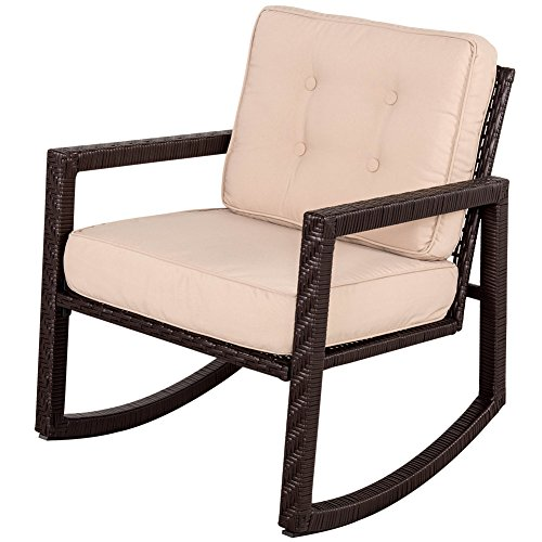 Sundale Outdoor All Weather Wicker Rocking Chair with Cushion Patio Porch Deck Furniture Luxury Chair, Capacity 200 Pounds, Tan