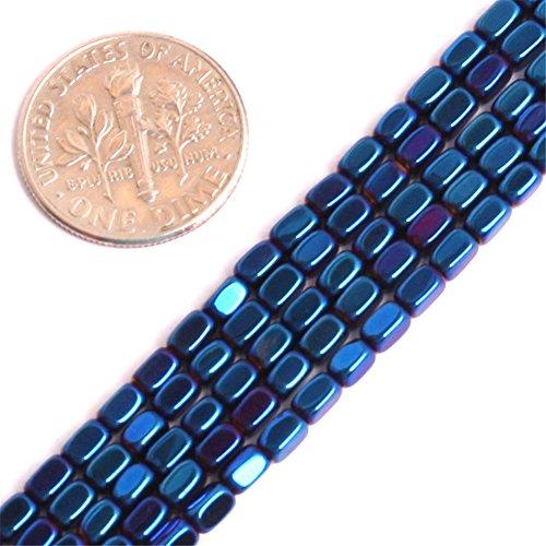 Hematite Beads for Jewelry Making Gemstone Semi Precious 2x4mm Cube Blue Metallic Coated 15