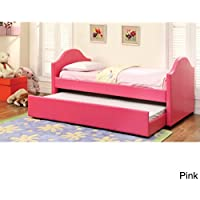 Furniture of America Camillia Leatherette Platform with Twin Trundle Daybed Pink