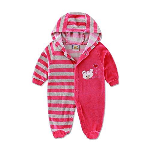 Little Q Velour Baby Girls Bodysuit (Size 68, Rose -
