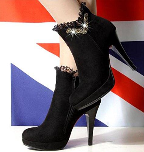 HETAO Persönlichkeit Heels Frauen-Aufladungen-Knöchel-Rhinestones-Herbst-Winter-Ferse schnüren sich oben Plattform-Kurzschluss-Aufladungen Temperament elegante Schuhe Black