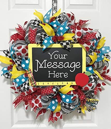 TEACHER Classroom Deco Mesh Wreath BACK to SCHOOL CHALKBOARD Ruler Personalized #98