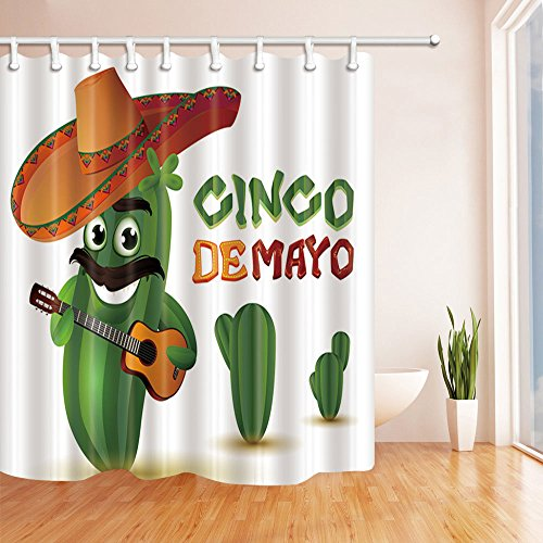 Mexican Bathroom Decor (KOTOM Mexican Decor, Mexico Cactus Music Shower Curtains, Mildew Resistant Polyester Fabric Bathroom Decorations, Shower Curtain Hooks Included, 69X75in)