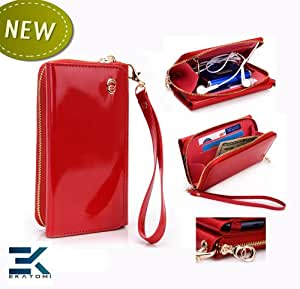 PU Leather Women's Wallet Wristlet Clutch Universal Phone Bag compatible with LG Optimus Chat C550 Case - GLOSSY RED