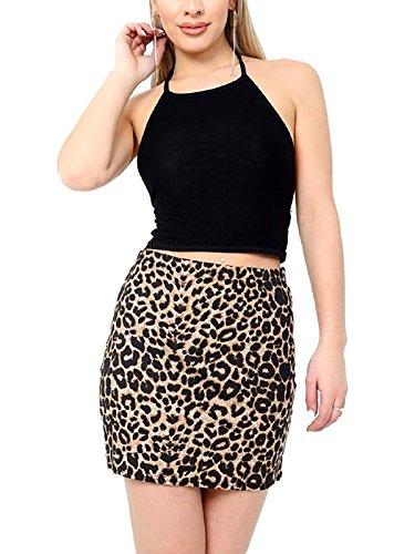 Taille Imprimé Unique Jupe Léopard Noir Marron Femme 21fashion Motif wgHI5qpx