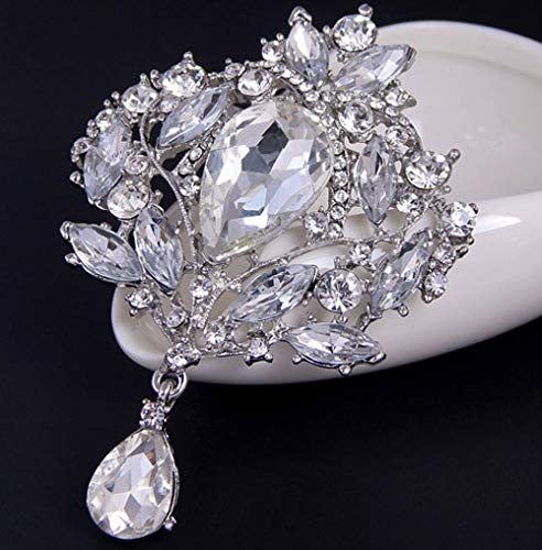 Jounkal Water Drop Brooch Pin White Brilliant Rhinestone Scarf Clips Brooches Pins
