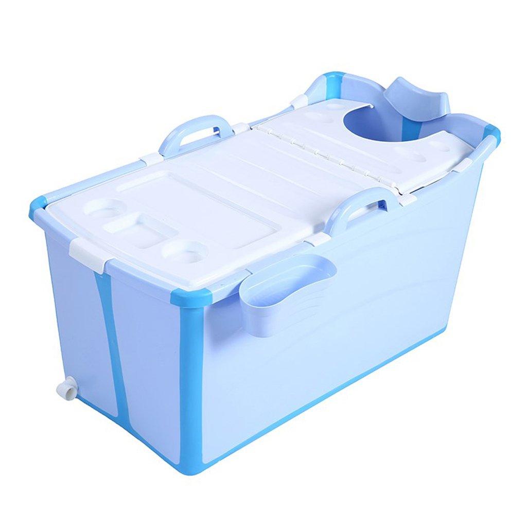 Erwachsene dicke Kunststoff Badewanne faltbare Dusche Becken Home Bad Produkte tragen/schmutzig/langlebig/leicht zu reinigen blau, rosa (123 * 52 * 68 cm) (Farbe : Blau)