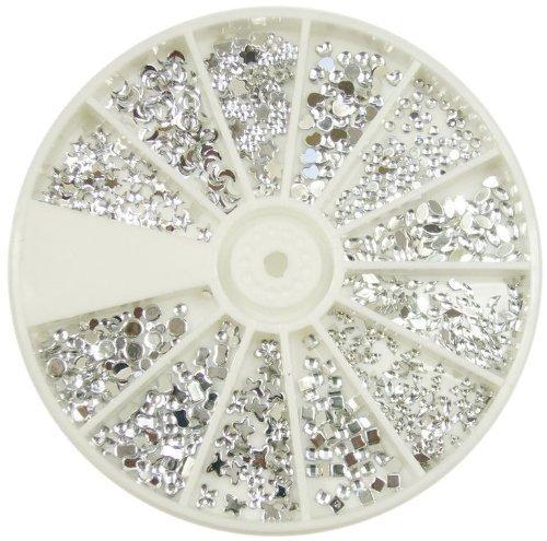 Nail Art Moyou Silver Moon strass pack de 1200 de Crystal premium Gemstones qualité dans 12 différentes formes et tailles, l'accessoire beauté pour les femmes ongles, amusant et facile à appliquer avec top coat ou la colle à ongles