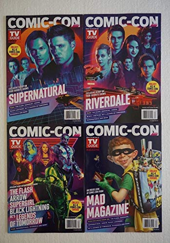SET of 4 SDCC 2018 Comic Con TV GUIDES Supernatural, Riverdale, The Flash Supergirl MAD