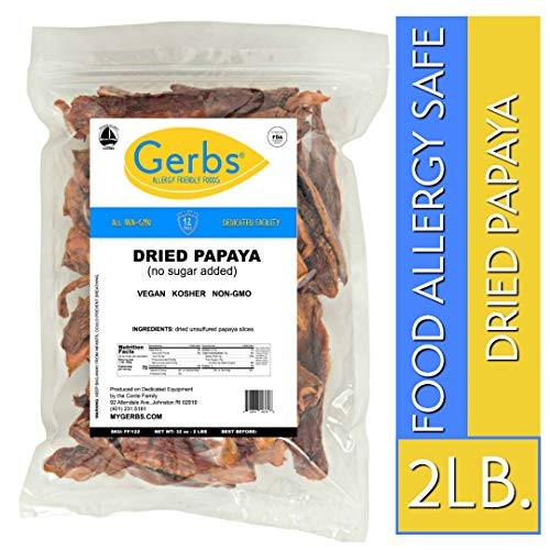 Gerbs Dried Papaya No Sugar Added, 2 LBS - Preservative Free & Unsulfured - Top 14 Food Allergy Free & NON GMO - Product of Thailand (Papaya Chunks)