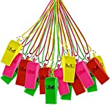 60 Pcs Neon Plastic Whistle with Nylon Braided Cord - Ideal for Birthday Loot Goodies Bag, Party Favors, Pinata Stuffer, Kids Sports & Games, Classroom Rewards or Prizes and School Party Supplies