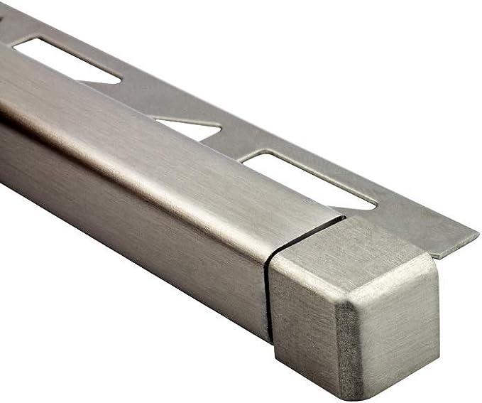 Quadrat Ausseneck Edelstahl V2A 6mm geb/ürstet
