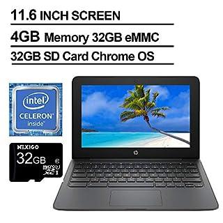 2020 Newest HP Chromebook 11.6 Inch Laptop, Intel Celeron N3350 up to 2.4 GHz, 4GB LPDDR2 RAM, 32GB eMMC, WiFi, Bluetooth, Webcam, Chrome OS + NexiGo 32GB MicroSD Card Bundle
